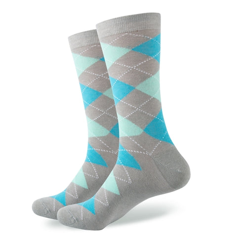 Light Blue Grey Argyle Socks