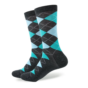 Blue Grey Argyle Socks