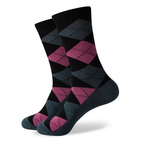 Pink Grey Argyle Socks