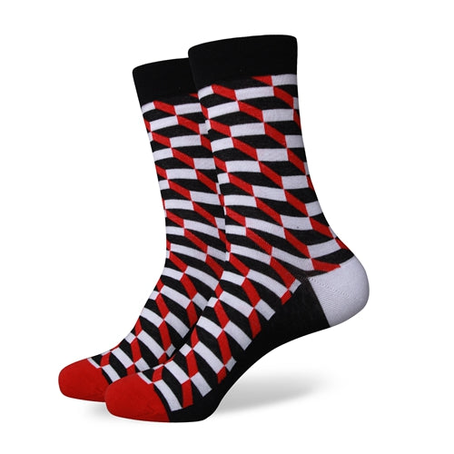 Black Red Weave Socks
