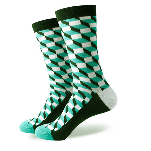 Green White Weave Socks