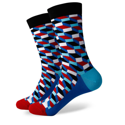 Blue Red Weave Socks