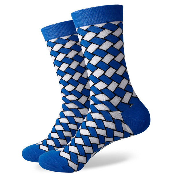 Blue White Weave Socks