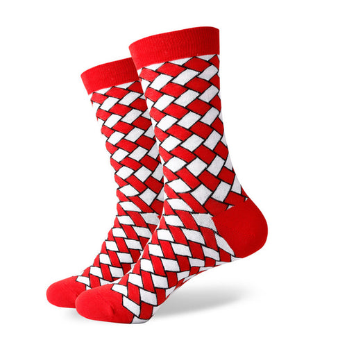 Red White Weave Socks