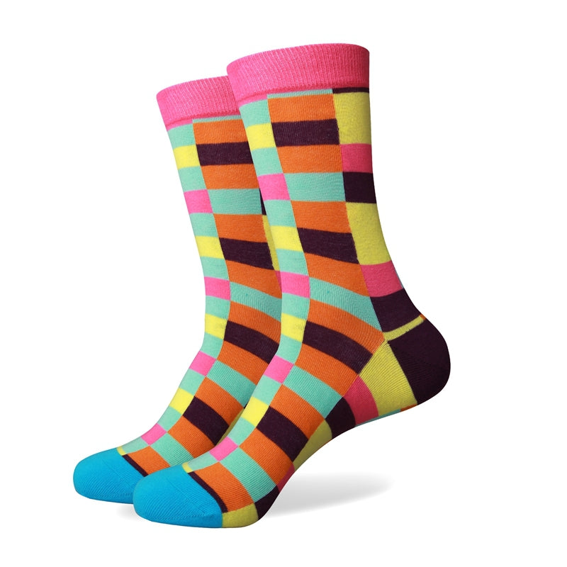 Multi Color Squares Socks