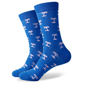 Blue White Palm Trees Socks