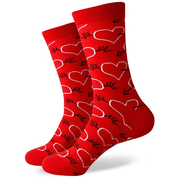 Red White Hearts Socks
