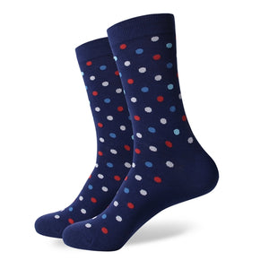 Blue Red White Dots Socks