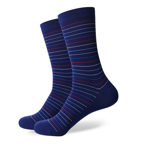 Blue Multi Color Thin Striped Socks