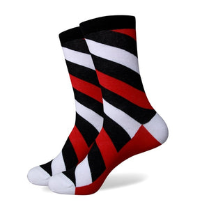 Black Grey Red Striped Socks
