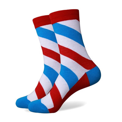 Blue Grey Red Striped Socks