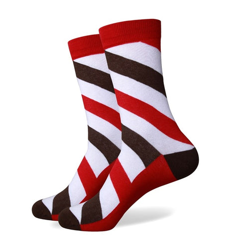 Brown Grey Red Striped Socks
