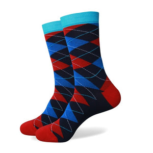Red Blue Argyle Socks