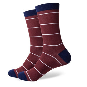 Maroon White Striped Socks