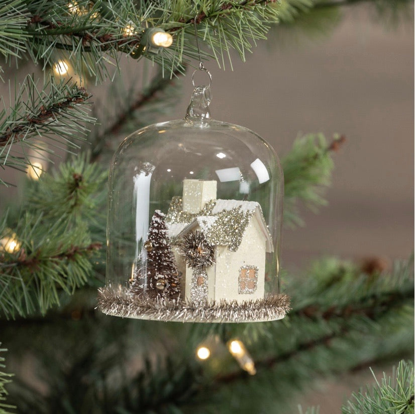 Lighted House Domed Ornament