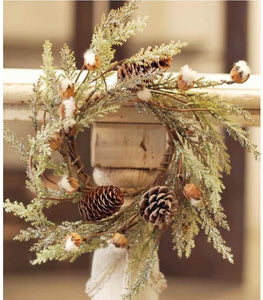 Small Cotton & Pine Wreath - 14""
