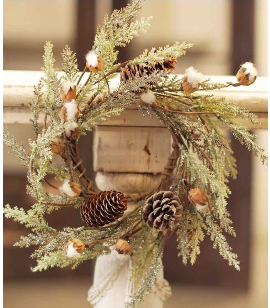 Small Cotton & Pine Wreath - 14