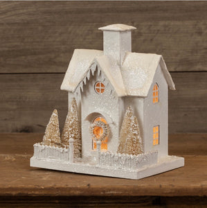 Snowy White Lighted House