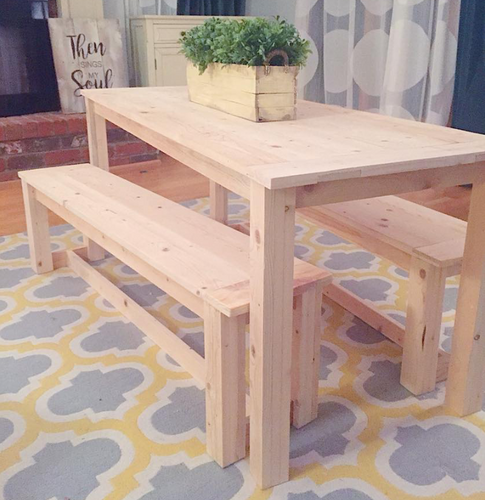 Kids Farmhouse Table & Benches, Raw Pine