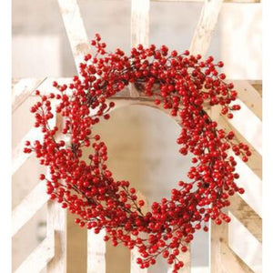 "Red Berry Wreath, 18"" - Last 1!"
