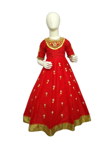 Red color Jewelry inspired embroidered long dress