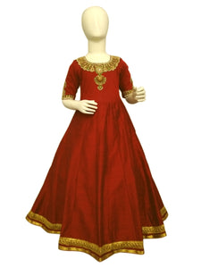 Red / Maroon color jewelry inspired embroidered long dress