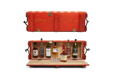 Mini Bar - Orange - Wall mounted mini bar | Whiskey and cocktail bar | Orange bar cabinet - Boites de la paix - 1