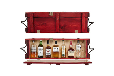 Mini Bar - Red - Red minibar | Home bar cabinet | Eco design | Handmade furniture - Boites de la paix - 1