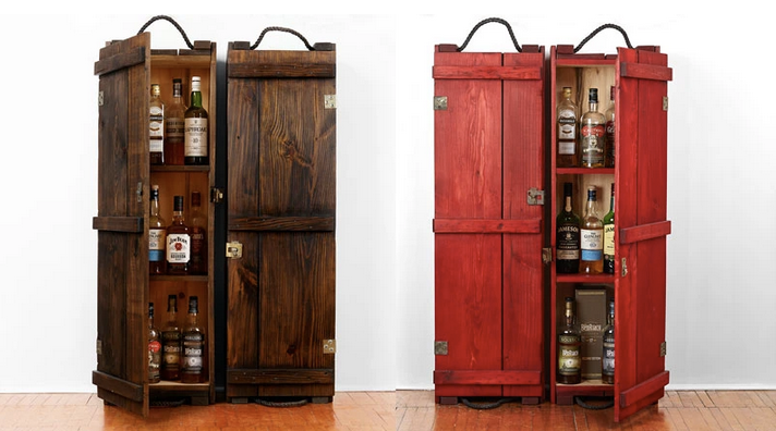 Antique wood whisky cabinet | Red whisky cabinet | Whisky lovers gift