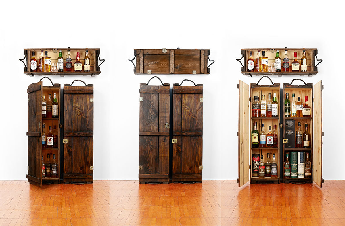 Whiskey cabinets | Whiskey displays | Whiskey, scotch, rye, bourbon | Man cave decor | Industrial style