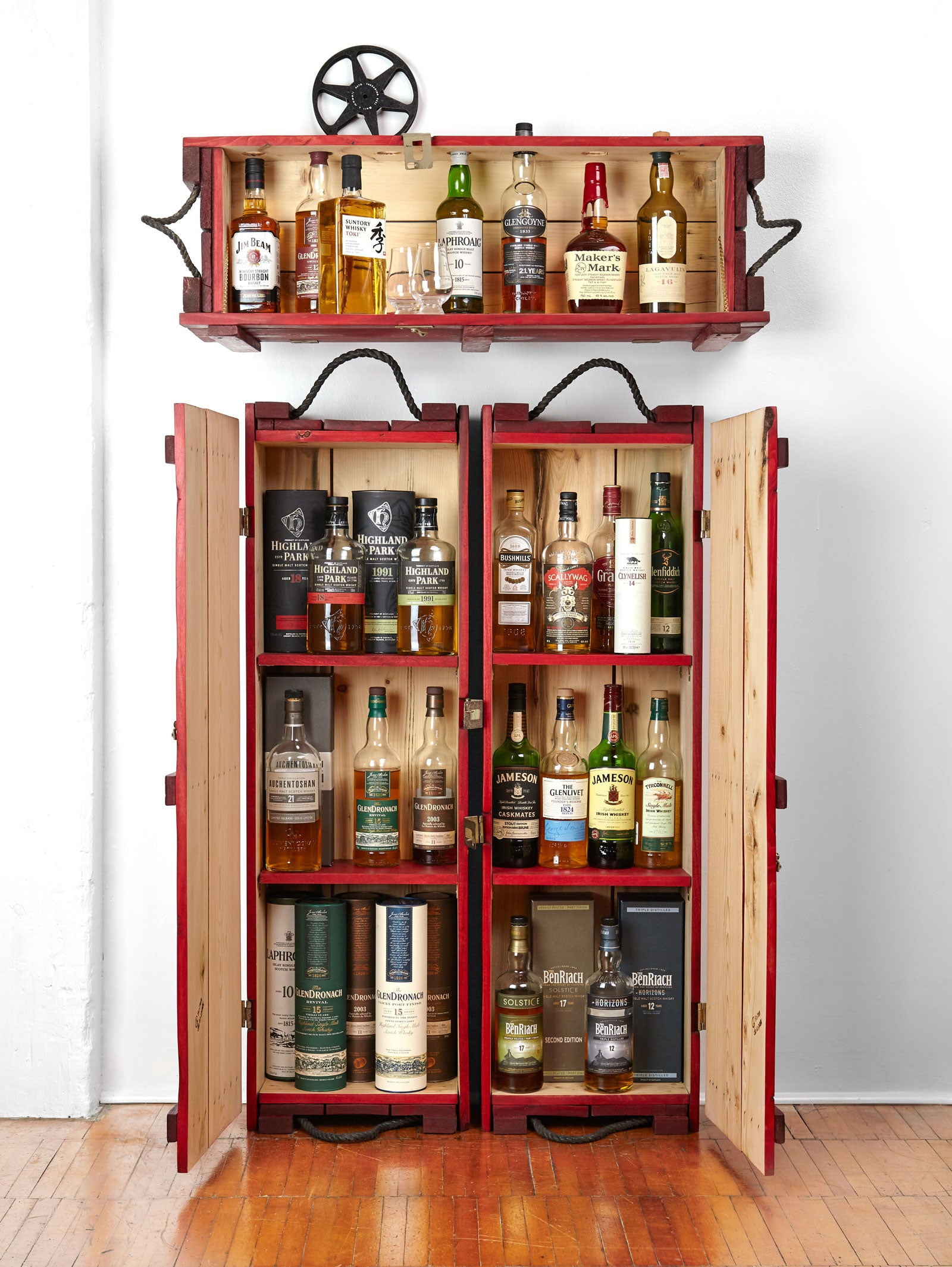Whiskey cabinet and mini Bar | Red wooden liquor cabinets | Whiskey, scotch, rye display