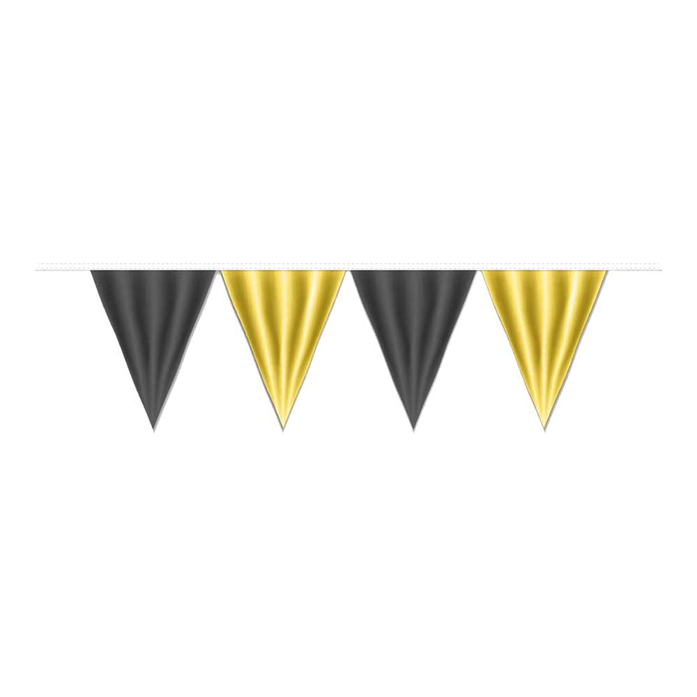 Pennants (Normal Duty) - Black & Yellow 100 Ft.