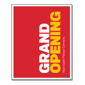 "GRAND OPENING - DOOR DECAL <br> 8 in. x 10 in. <br> <font color=""red""> Other colors available </font>"