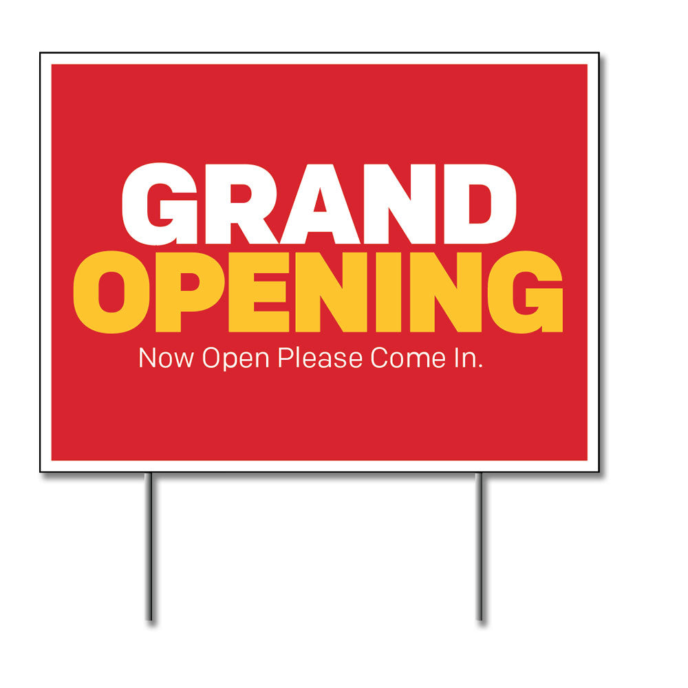 "GRAND OPENING - LAWN SIGN <br> 24 in. x 18 in. <br><font color=""red""> Other colors available </font>"