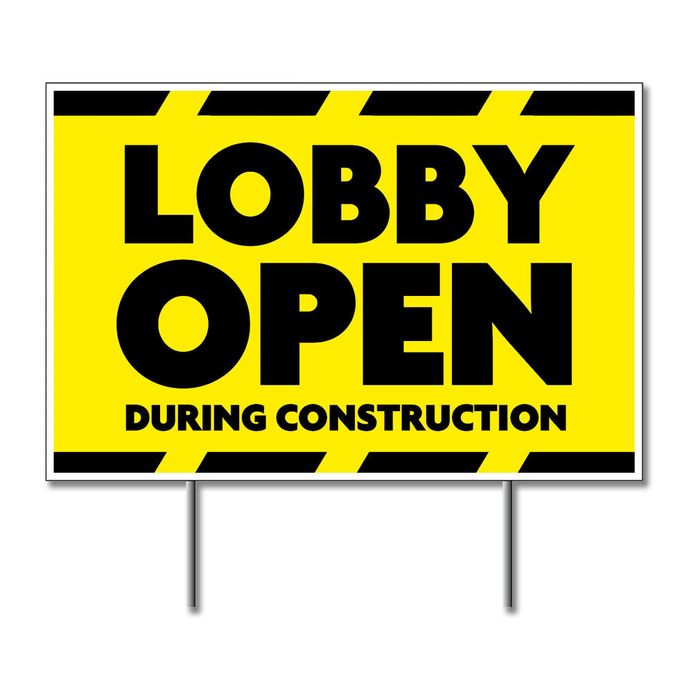 Lobby Open During Construction - Lawn Sign - 24 In. X 18 In.