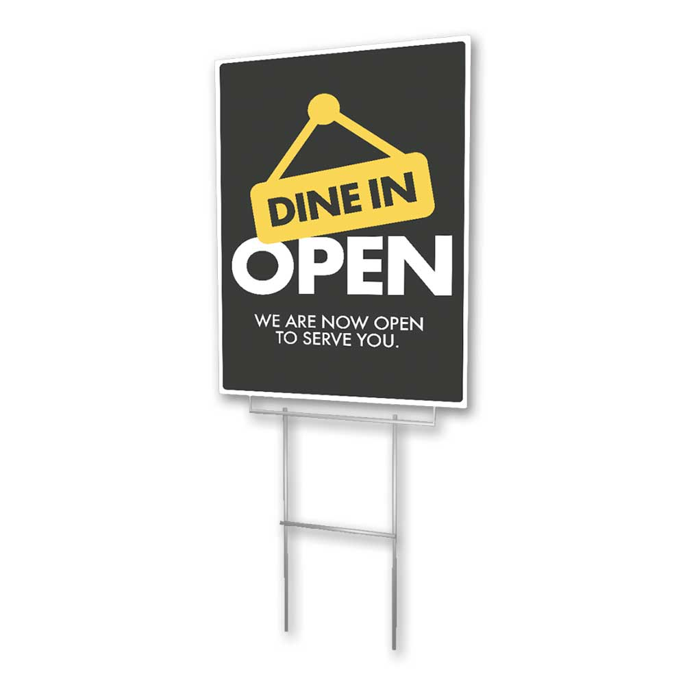 Dine In Open - Lawn Sign - 18 In. X 24 In.