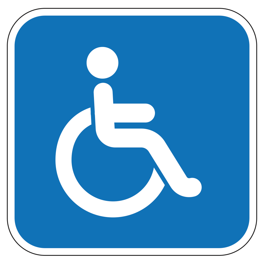 HANDICAP WHEELCHAIR LOGO - SIGN <BR> 10 in. x 10 in.