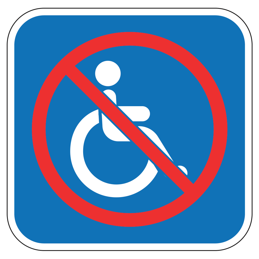 NO HANDICAP WHEELCHAIR LOGO - SIGN <BR> 10 in. x 10 in.