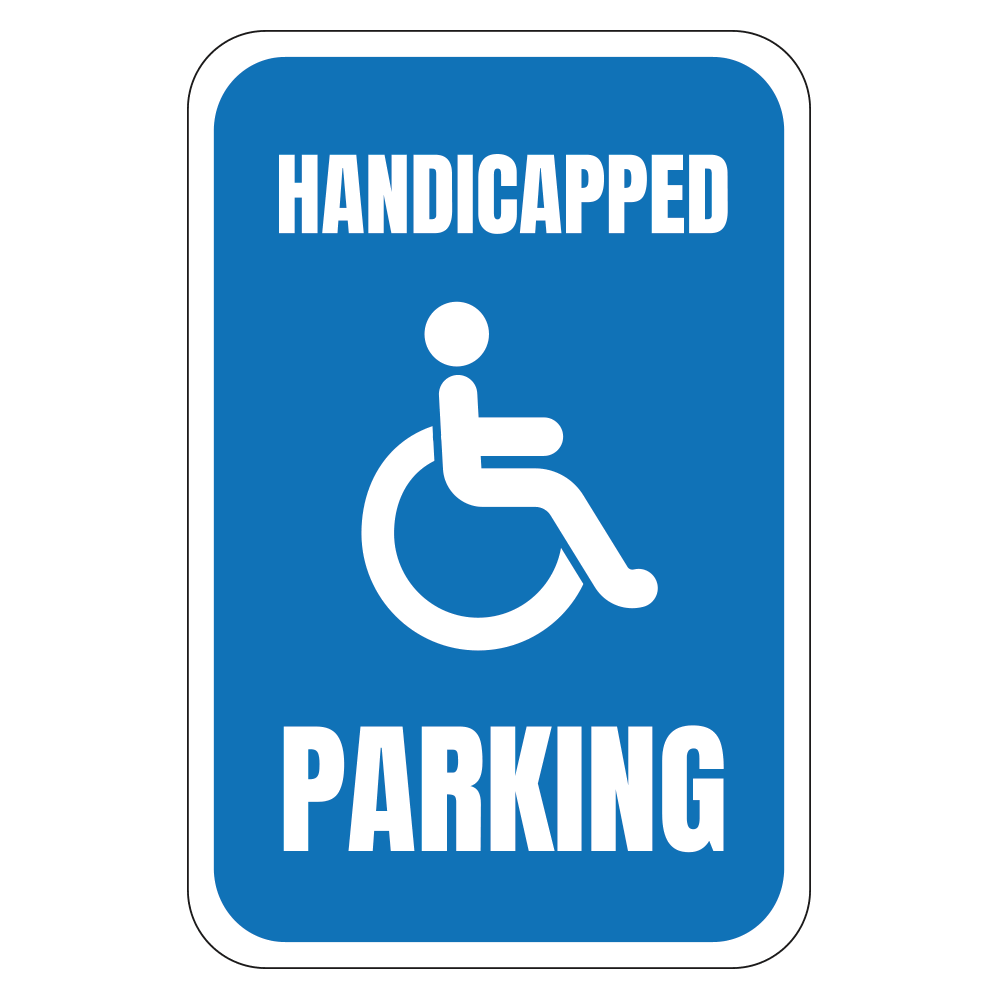 HANDICAPPED PARKING LOGO - SIGN <BR> 12 in. x 18 in.