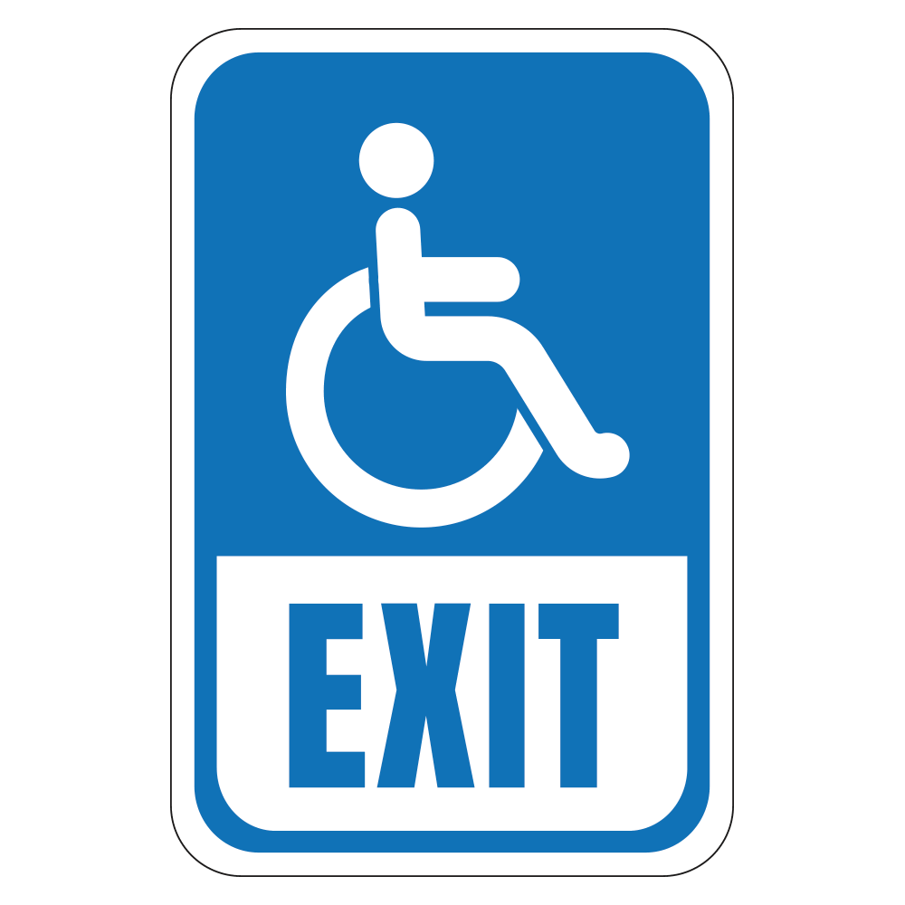 HANDICAP EXIT LOGO - SIGN <BR> 12 in. x 18 in.