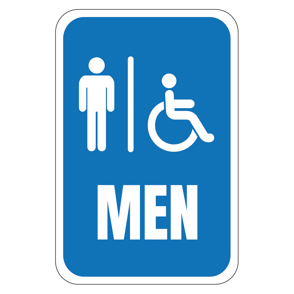 HANDICAP MEN'S RESTROOM - SIGN <BR> 12 in. x 18 in.