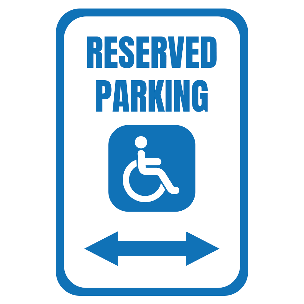 RESERVED PARKING (HANDICAP ARROWS) - SIGN <BR> 12 in. x 18 in.