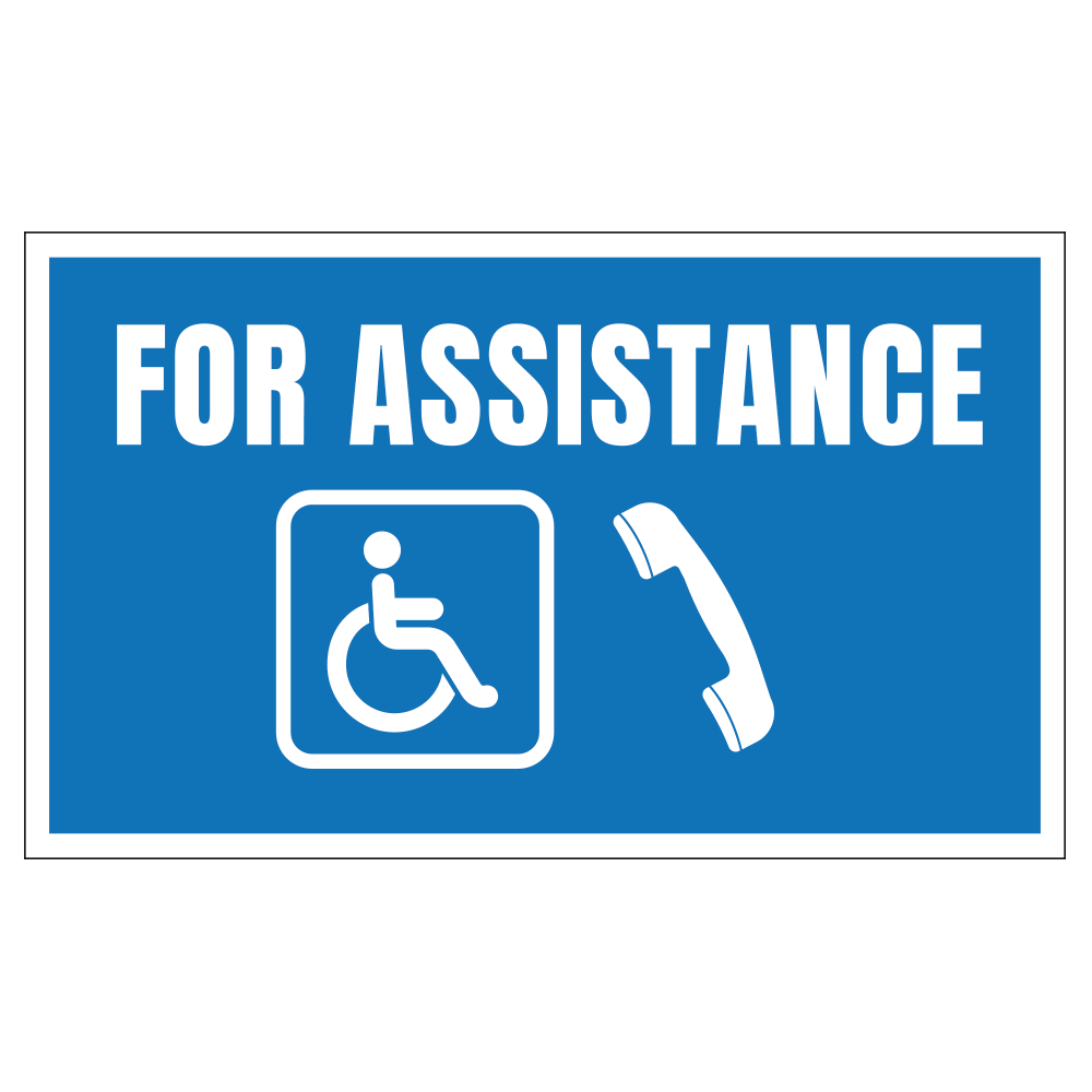 FOR ASSISTANCE HANDICAP, 20 in. x 12 in.