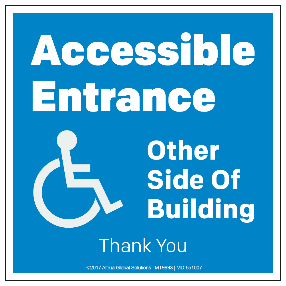 ACCESSIBLE ENTRANCE, HANDICAP - DECAL <BR> 4.5 in. x 4.5 in.