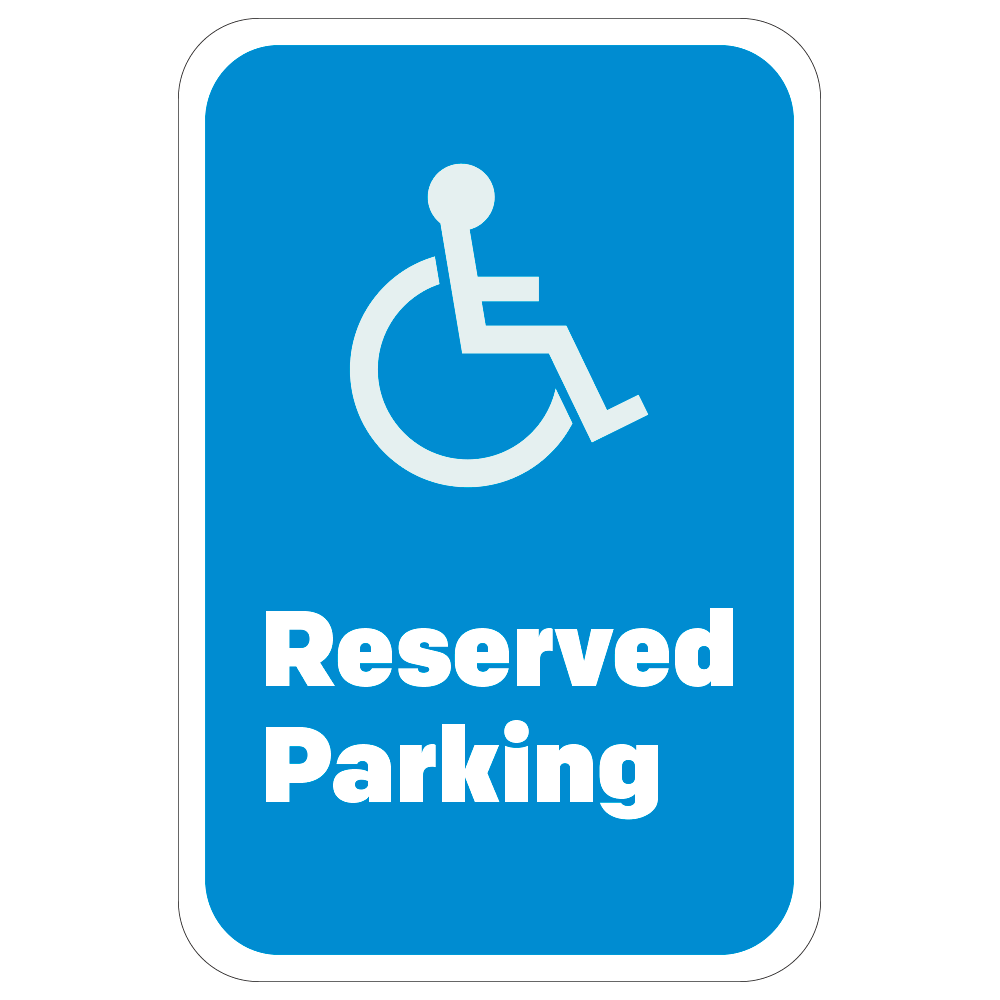 RESERVED PARKING HANDICAP LOGO - SIGN <BR> 12 in. x 18 in.
