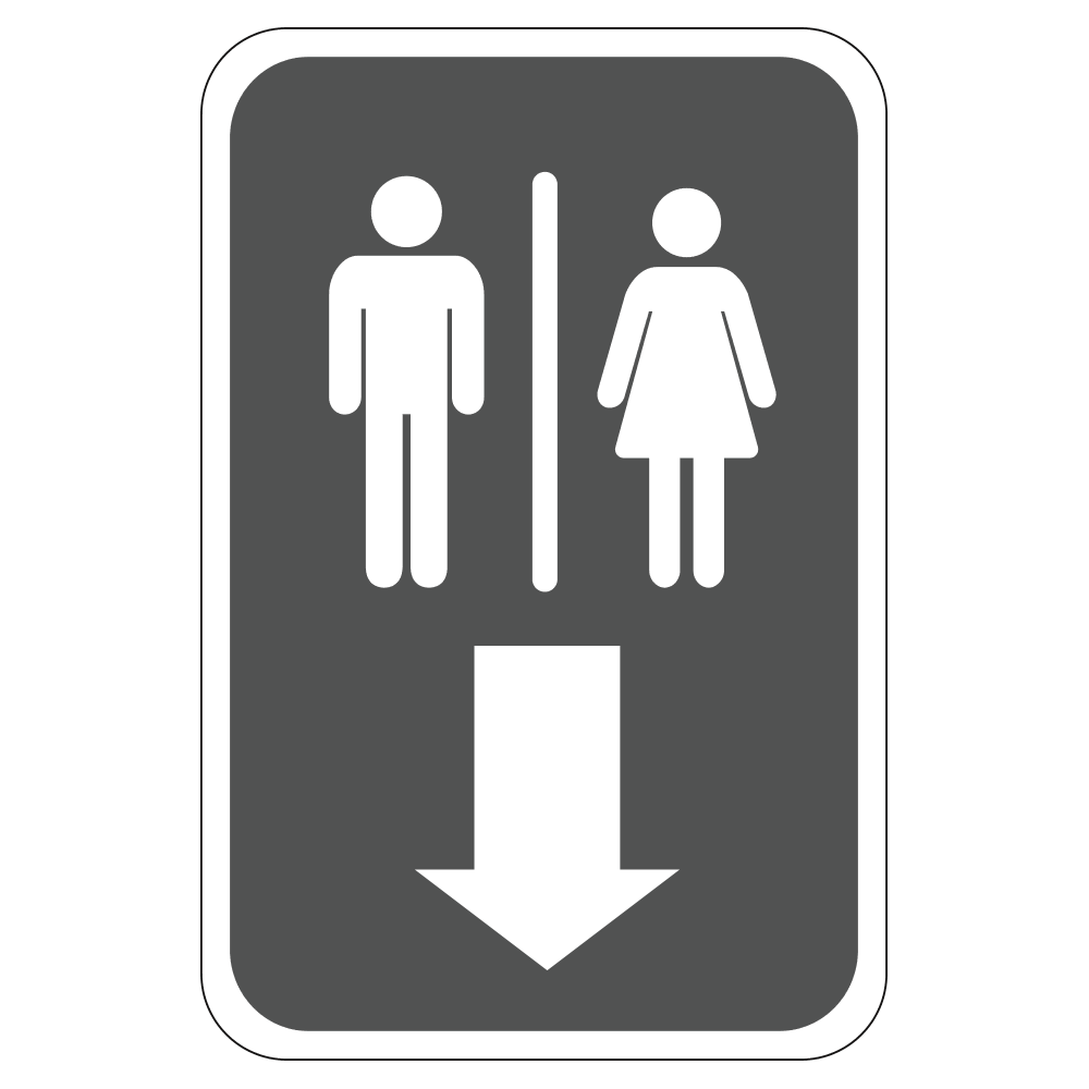 MENS AND WOMENS RESTROOM DOWN - SIGN <BR> 12 in. x 18 in.