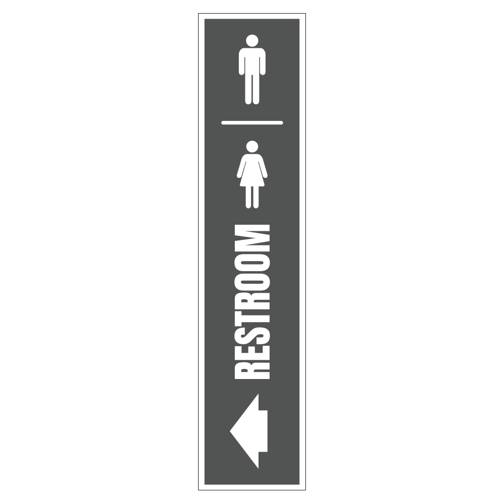 MEN AND WOMEN'S RESTROOM LEFT SIGN <BR> 8 in. x 36 in.