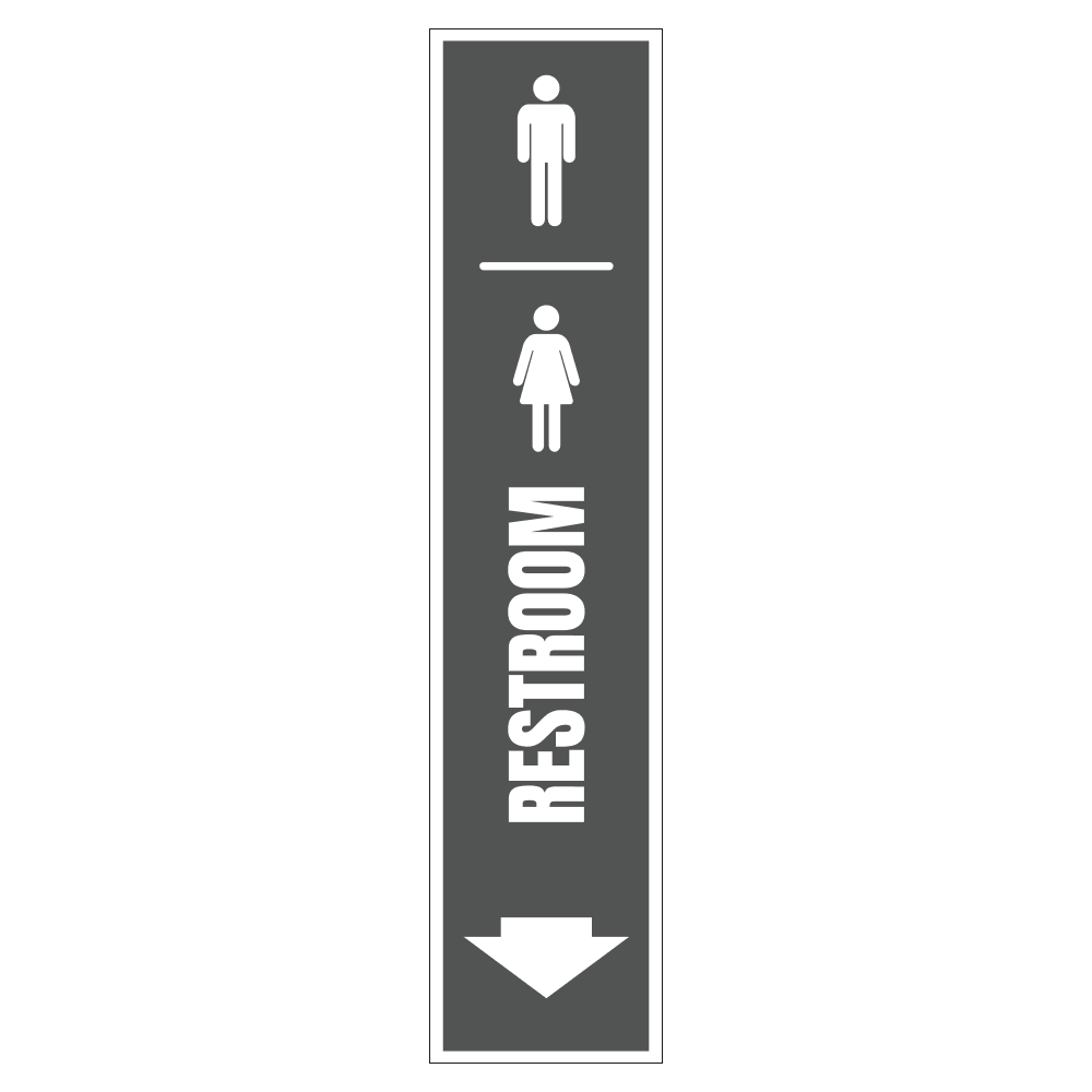 MEN AND WOMEN'S RESTROOM DOWN - SIGN <BR> 8 in. x 36 in.