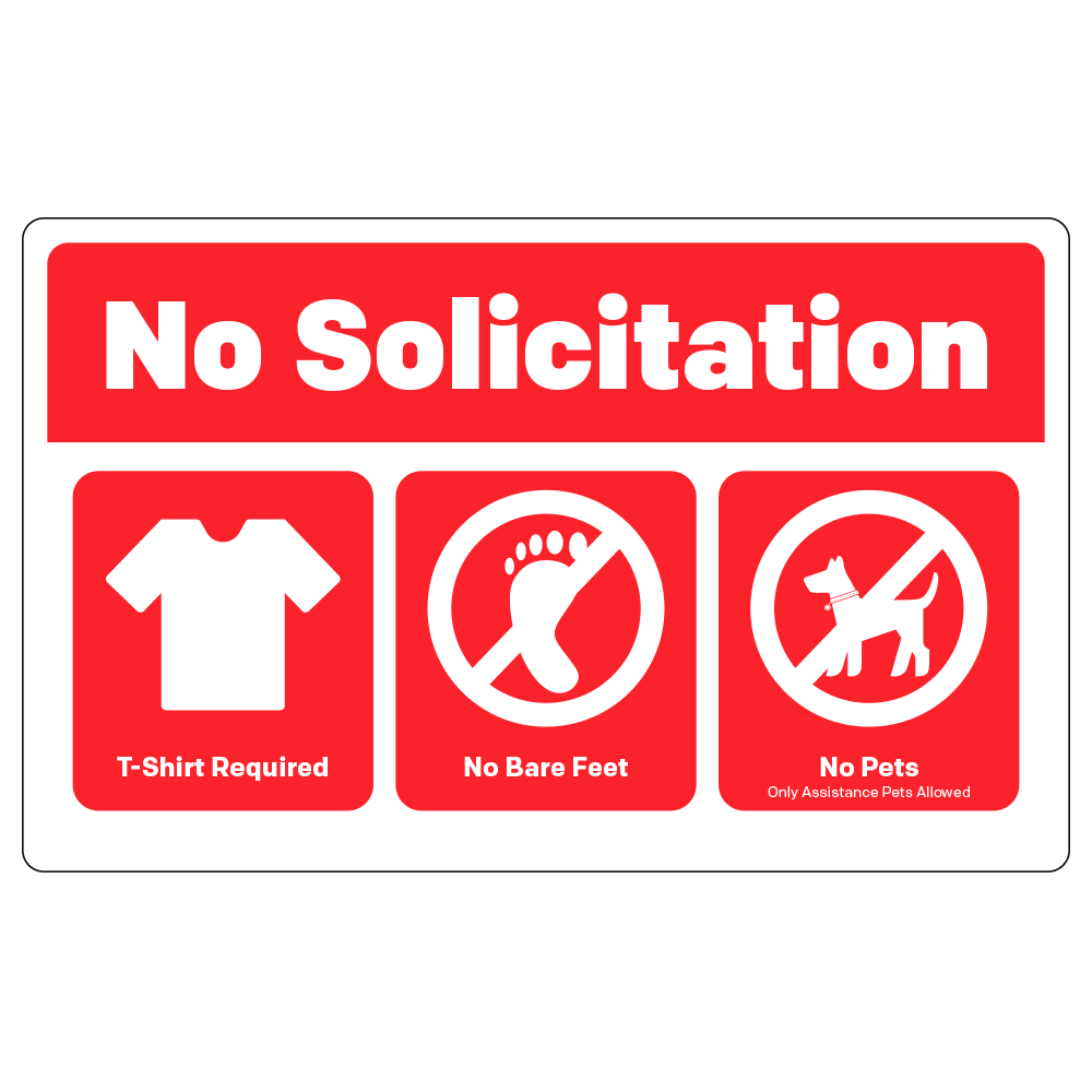 NO SOLICITATION / RULES - OPERATIONAL DECAL <BR> 8 in. x 5 in.