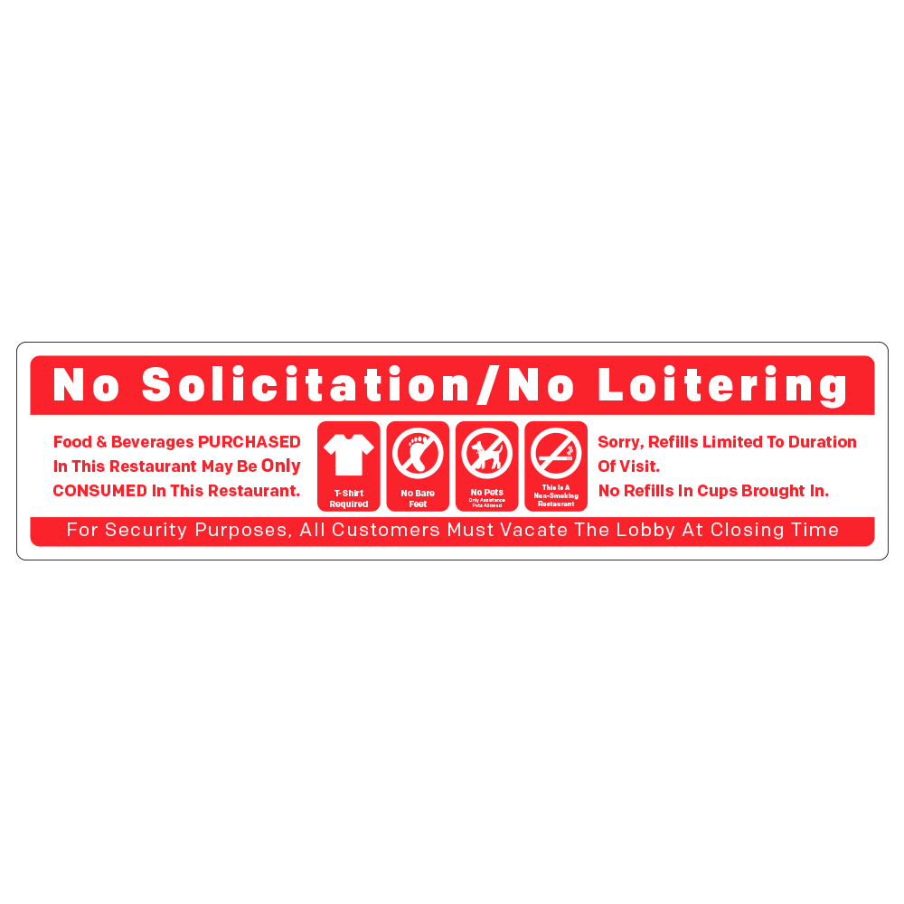 NO SOLICITATION / RULES - OPERATIONAL DECAL <BR> 16 in. x 4 in.